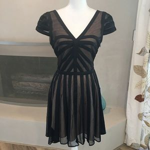 Bebe Black and Nude Cocktail Dress